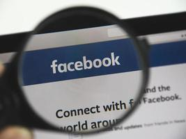 Facebook logo on a web page, illustrative editorial photo