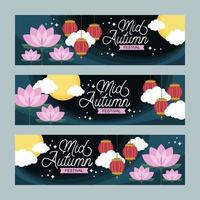 Flat Colorful  Happy Mid Autumn Banner Template Set vector