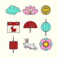 Happy Mid Autumn Festival Icon Set vector