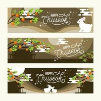 Happy Chuseok Festival Banner Set Template vector