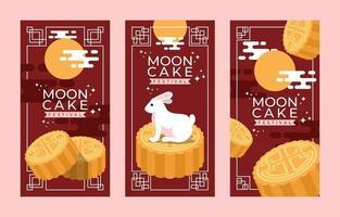 Moon Cake Festival Banner Set Template vector