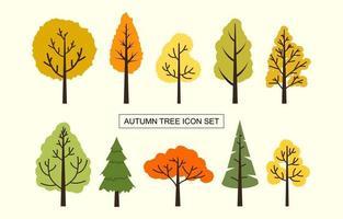 conjunto de iconos de árbol de otoño vector