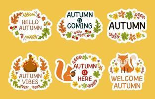 Autumn Flora and Fauna Sticker Set vector