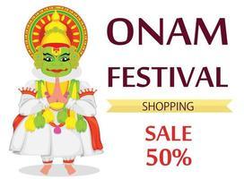 Kathakali dancer. Happy Onam festival vector