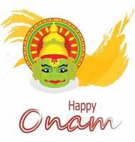 Kathakali face with heavy crown for festival of Onam celebration. vector