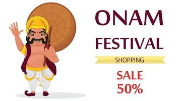 King Mahabali. Happy Onam festival in Kerala vector