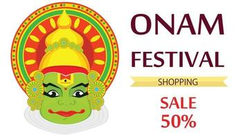 Kathakali face with heavy crown for festival of Onam celebration vector
