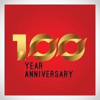 Color de ilustración de diseño de plantilla de vector de logotipo de aniversario de 100 años