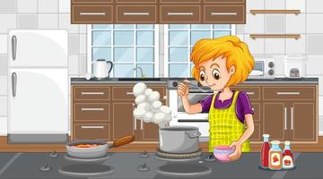 A happy woman cooking in the kitchen scene vector