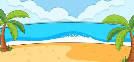 Empty beach scene with coconut trees in simple style vector