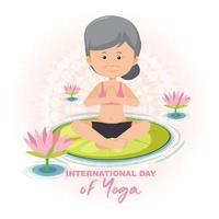 International Day of Yoga banner with old woman doing yoga exercise vector