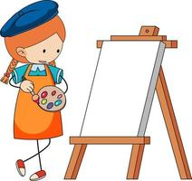 Little artist cartoon character with blank board isolated vector