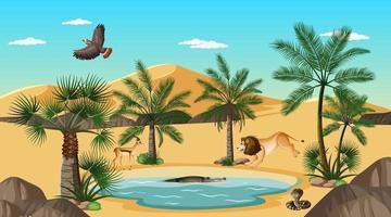 Desert forest landscape at daytime scene with willd animals vector
