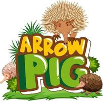 Many echidnas cartoon character with Arrow Pig font banner isolated vector
