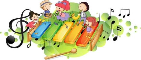 Xylophone with many happy kids and melody symbols on green splotch vector