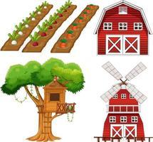 Farm element set isolated on white background vector