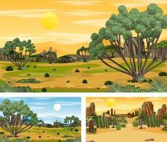 diferentes escenas horizontales de naturaleza en estilo de dibujos animados. vector