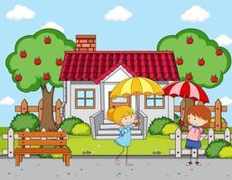 frente a la escena de la casa con dos niñas sosteniendo paraguas vector