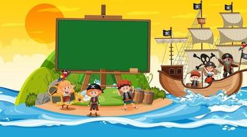 Empty banner template with pirate kids at the beach sunset scene vector