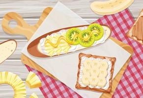 Bruschetta with kiwi and banana topping on the table background vector