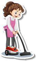 Cartoon character sticker with a house maid using vacuum cleaner vector