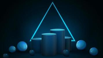 Empty blue winners cylindrical pedestals with neon triangular frame vector