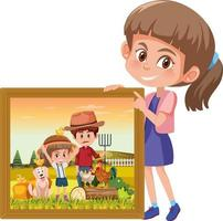 Girl holding a photo of a girl in the farm with her dad vector