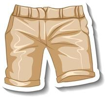 A sticker template with a casual shorts isolated vector