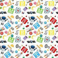 colorido, tallo, educación, seamless, plano de fondo vector