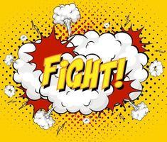Texto de lucha en explosión de nube cómica sobre fondo amarillo vector