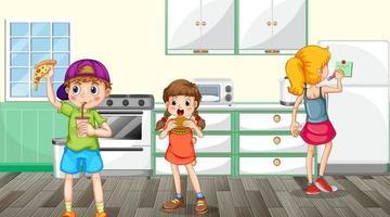 Scene with children eating in the kitchen scene vector