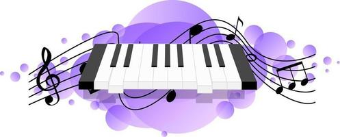 Electronic keyboard or electronic musical instrument music symbols vector