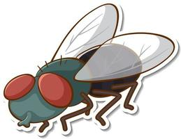 Sticker design with fly insect isolated vector