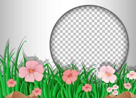 marco redondo con plantilla de campo de flor rosa vector