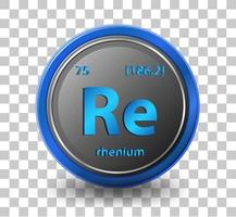 Rhenium  Chemical symbol with atomic number and atomic mass vector