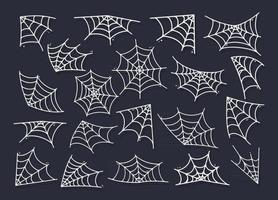 Spider web silhouette hanging for Halloween banner decorations. vector