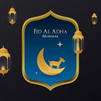 Eid al Adha Mubarak Greeting Card for social media post vector