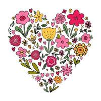 heart shape bouquet with various floral hand drawn flower doodles vector