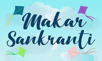 diseño de tarjeta de felicitación feliz makar sankranti con cometas de colores vector