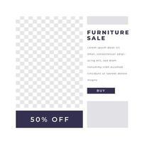 Furniture sale discount poster social media post modern minimalist vector