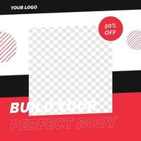 Fitness gym sale discount poster social media post template vector
