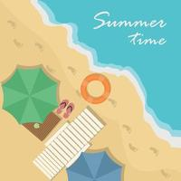 Top view of beach, with umbrella, stretcher, sandals, table vector