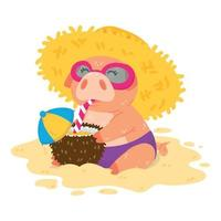 Piglet on the beach in a straw hat sunglasses and cocktail in coconut vector