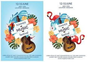 summer music festival poster on the beach party vibe vector