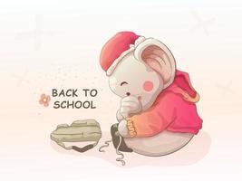 baby elephant preparing to go to school. vector