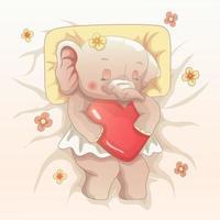 bebé elefante durmiendo bien. vector dibujado a mano estilo de arte de dibujos animados