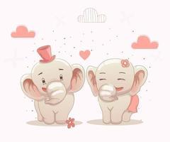 cute elephants couple love each other vector