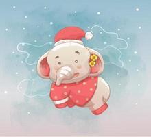 cute baby elephant fly on the sky. vector hand drawn cartoon art style