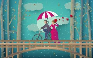 illustration of romantic couple riding bicycle vector
