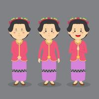 West Nusa Tenggara Character with Various Expression vector